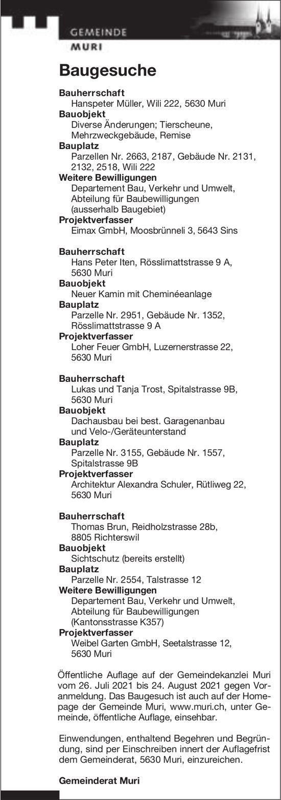 Baugesuche, Muri - Eimax GmbH, Baugesuche