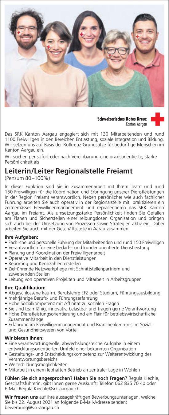 Leiterin/Leiter (Pensum 80 –100%), SRK, Regionalstelle Freiamt, Wohlen,  gesucht