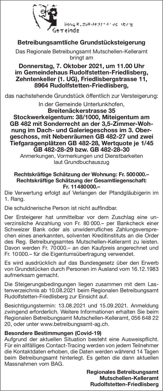 Betreibungsamt Mutschellen-Kelleramt, Betreibungsamtliche Grundstücksteigerung, 7. Oktober
