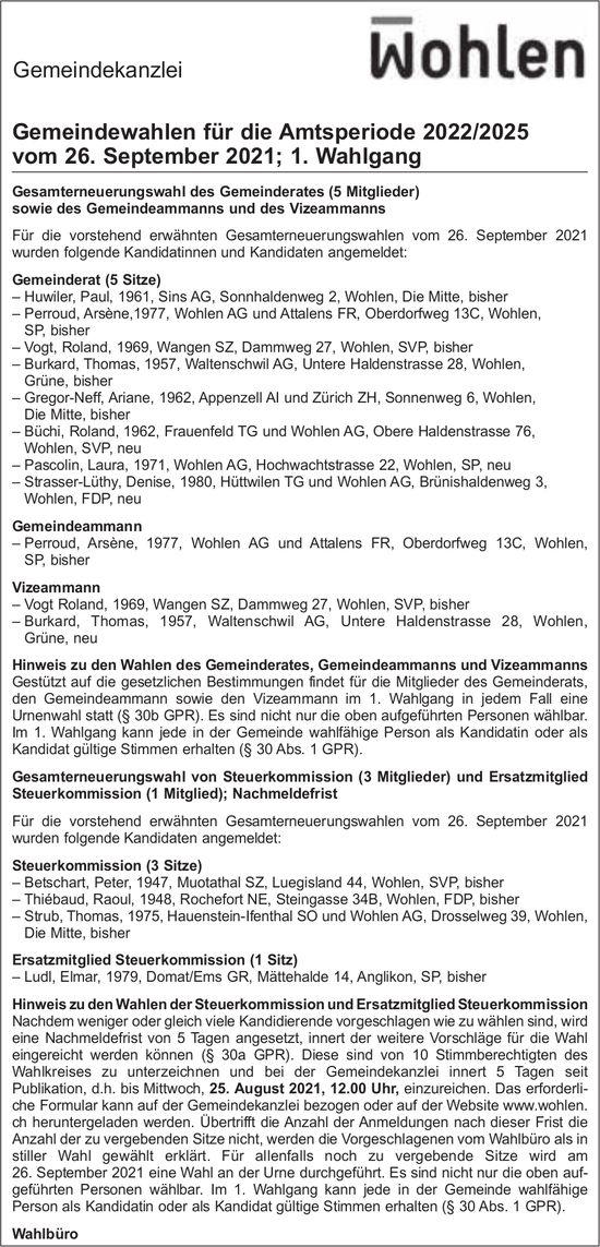 Wohlen - Gemeindewahlen, 26. September