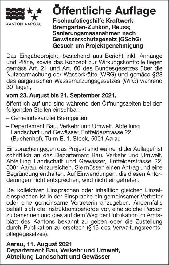 Kanton Aargau - Öffentliche Auflage