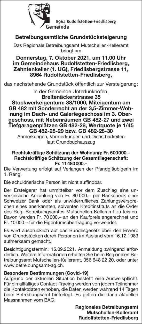 Rudolfstetten-Friedlisberg - Betreibungsamtliche Grundstücksteigerung