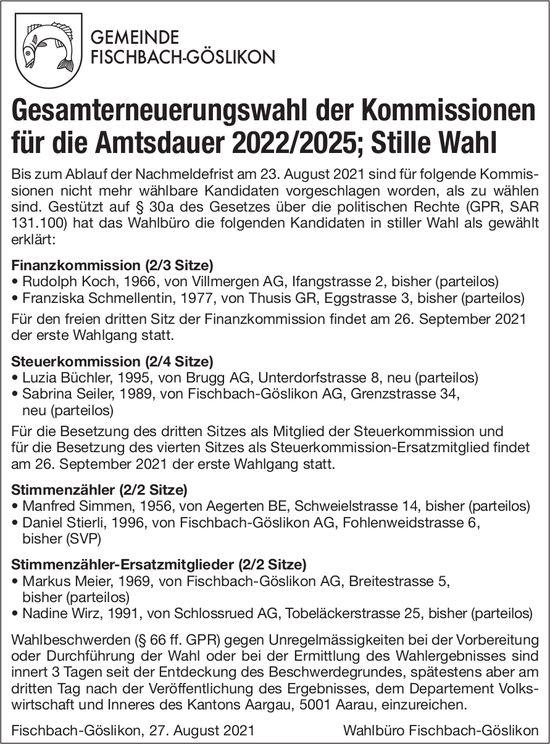 Fischbach-Göslikon - Gesamterneuerungswahl
