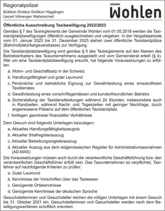 Wohlen - Öffentliche Ausschreibung Taxibewilligung 2022/2023