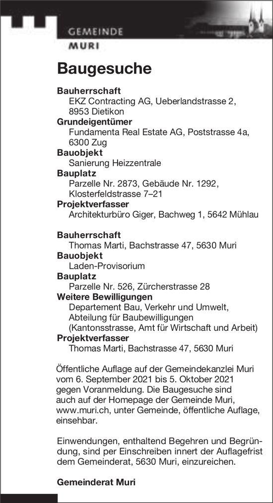Baugesuche, Muri - EKZ Contracting AG, Baugesuche