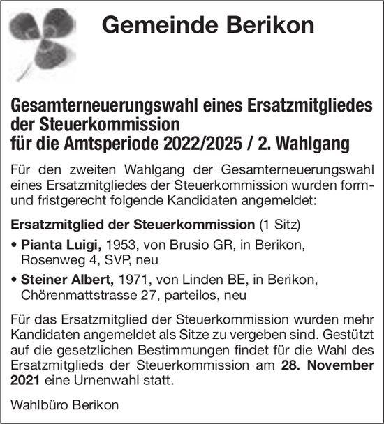 Berikon - Gesamterneuerungswahl