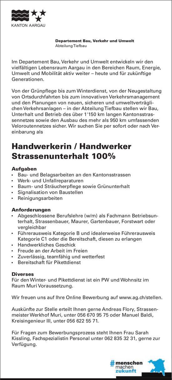 Handwerkerin / Handwerker Strassenunterhalt 100%, Departement Bau, Verkehr und Umwelt, Muri, gesucht