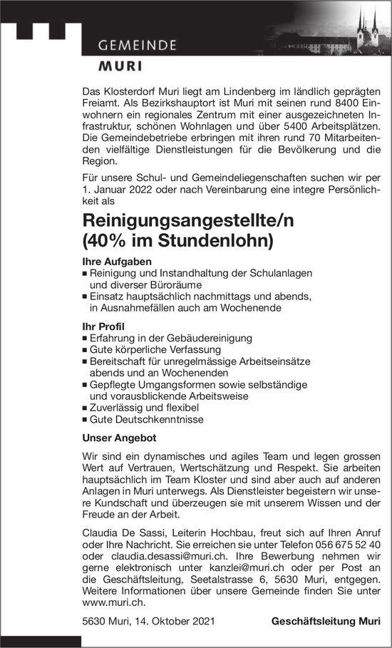 Reinigungsangestellte/n (40% im Stundenlohn), Gemeinde, Muri, gesucht