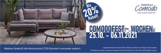 Comodofest-Wochen, 25. Oktober bis 6. November, Möbelhaus Comodo AG, Dürrenäsch
