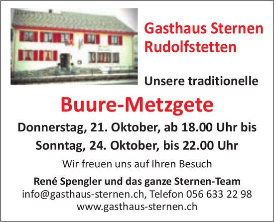 Buure Metzgete, 21. + 24. Oktober, Gasthaus Sternen, Rudolfstetten
