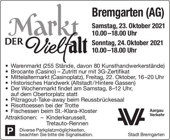 Markt der Vielfalt, 23. + 24. Oktober, Bremgarten