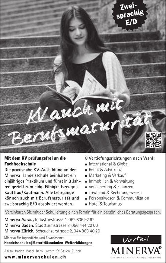 Minerva Schulen, Aarau - KV auch mit Berufsmaturität