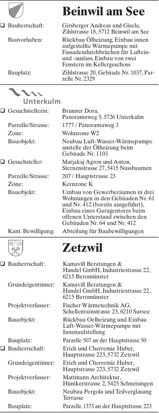 Baugesuche Beinwil am See,  Unterkulm & Zetzwil