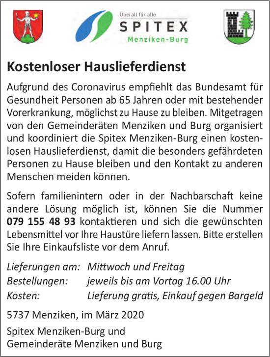 Spitex Menziken-Burg & Gemeinderäte Menziken/Burg - Kostenloser Hauslieferdienst