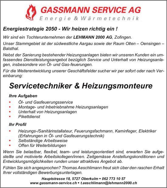 Servicetechniker & Heizungsmonteure, Gassmann Service AG, Oberkulm, gesucht