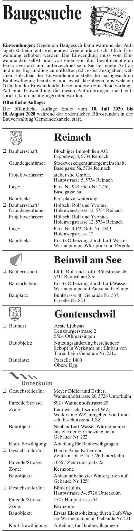 Baugesuche - Reinach,  Beinwil am See,  Gontenschwil & Unterkulm