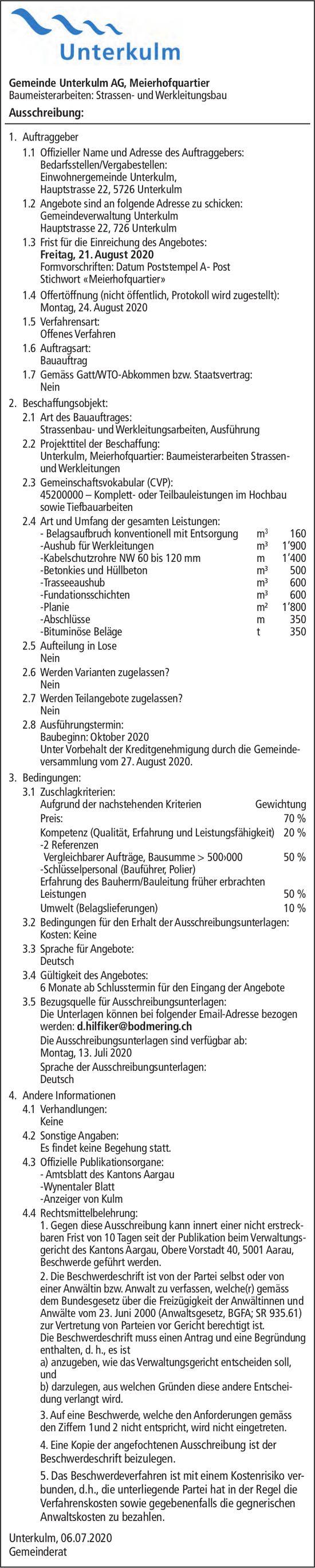 Gemeinde, Unterkulm - Ausschreibung Baumeisterarbeiten,  Strassen- und Werkleitungsbau