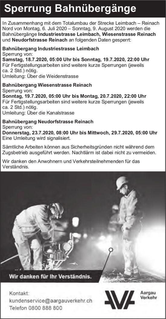 Aargau Verkehr - Sperrung Bahnübergänge, Strecke Reinach - Leimbach