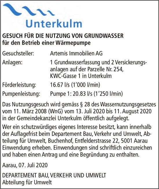 Artemis Immobilien AG, Unterkulm - Gesuch, Nutzung von Grundwasser für den Betrieb einer Wärmepumpe