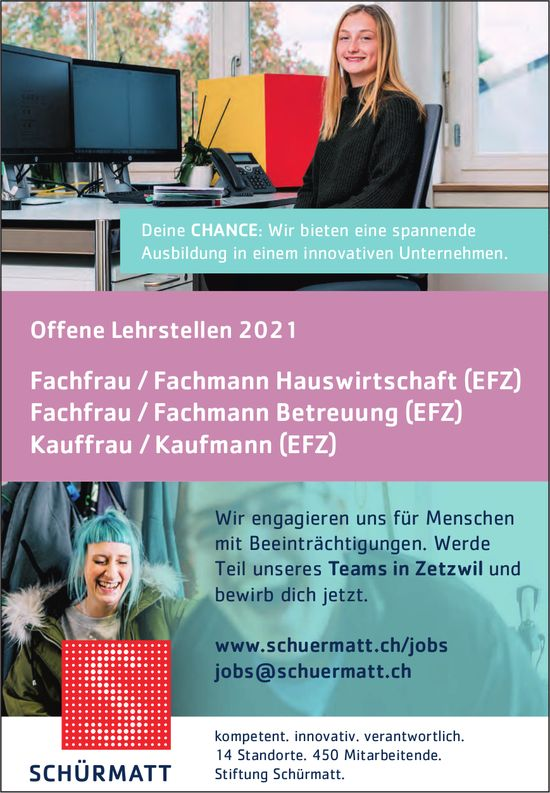 Offene Lehrstellen 2021, Stiftung Schürmatt, Zetzwil,  zu vergeben