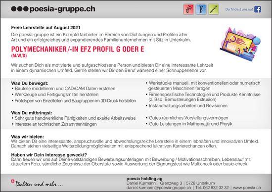 Lehrstelle als Polymechaniker /-in EFZ Profil G oder E, poesia holding ag, Unterkulm, zu vergeben