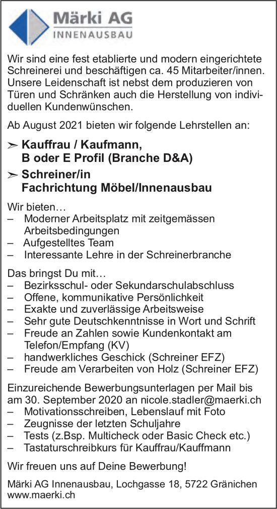 Lehrstellen als Kauffrau/Kaufmann & Schreiner/in, Märki AG Innenausbau, Gränichen,  zu vergeben