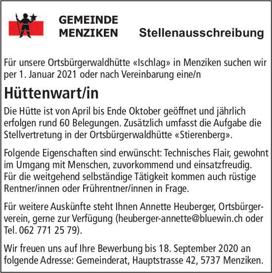 Hüttenwart/in, Gemeinde,  Menziken, gesucht