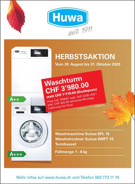 Huwa, Gontenschwil - Herbstsaktion Waschturm, bis 31. Oktober