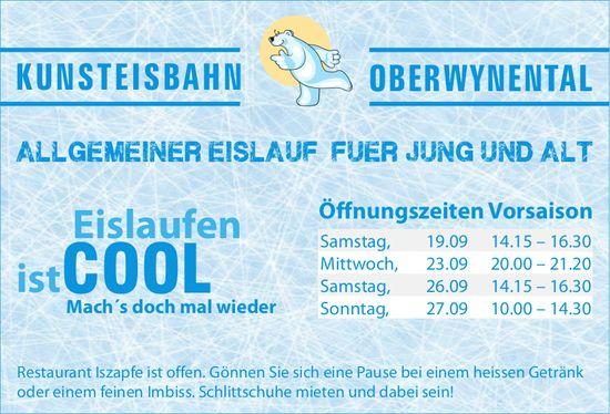 Kunsteisbahn Oberwynental - Öffnungszeiten Vorsaison