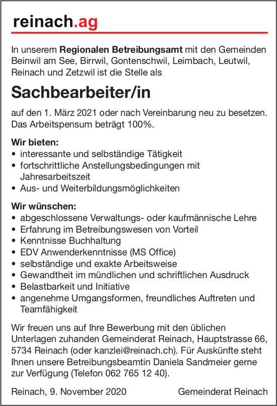 Sachbearbeiter/in, Gemeinde, Reinach, gesucht