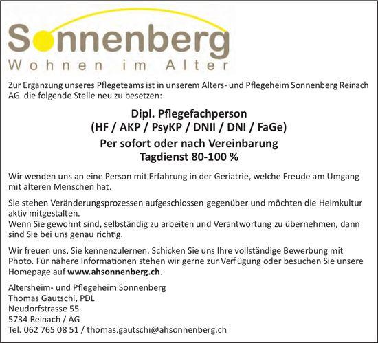 Dipl. Pflegefachperson, Altersheim- und Pflegeheim Sonnenberg, Reinach, gesucht
