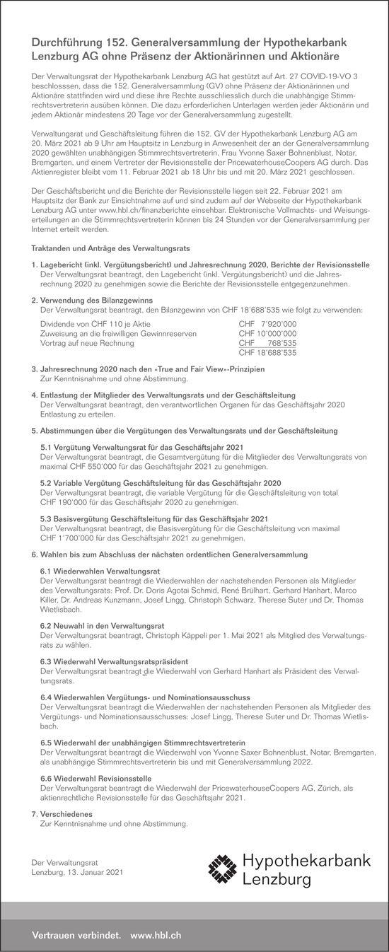 Durchführung 152. Generalversammlung der Hypothekarbank Lenzburg AG ohne Präsenz der Aktionärinnen und Aktionäre, 20. März