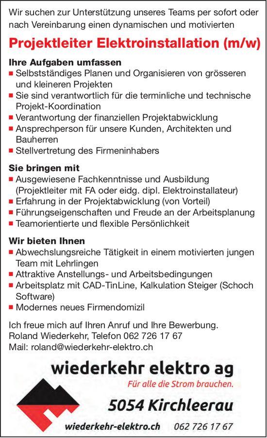 Projektleiter Elektroinstallation (m/w), wiederkehr elektro ag, Kirchleerau, gesucht