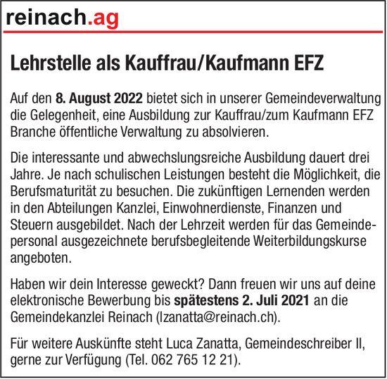 Lehrstelle als Kauffrau/Kaufmann EFZ, Gemeinde, Reinach, zu vergeben