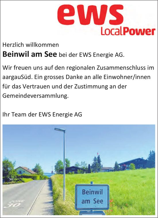 EWS Energie AG, Beinwil am See - Ein grosses Danke an alle Einwohner/innen für das Vertrauen und der Zustimmung an der Gemeindeversammlung