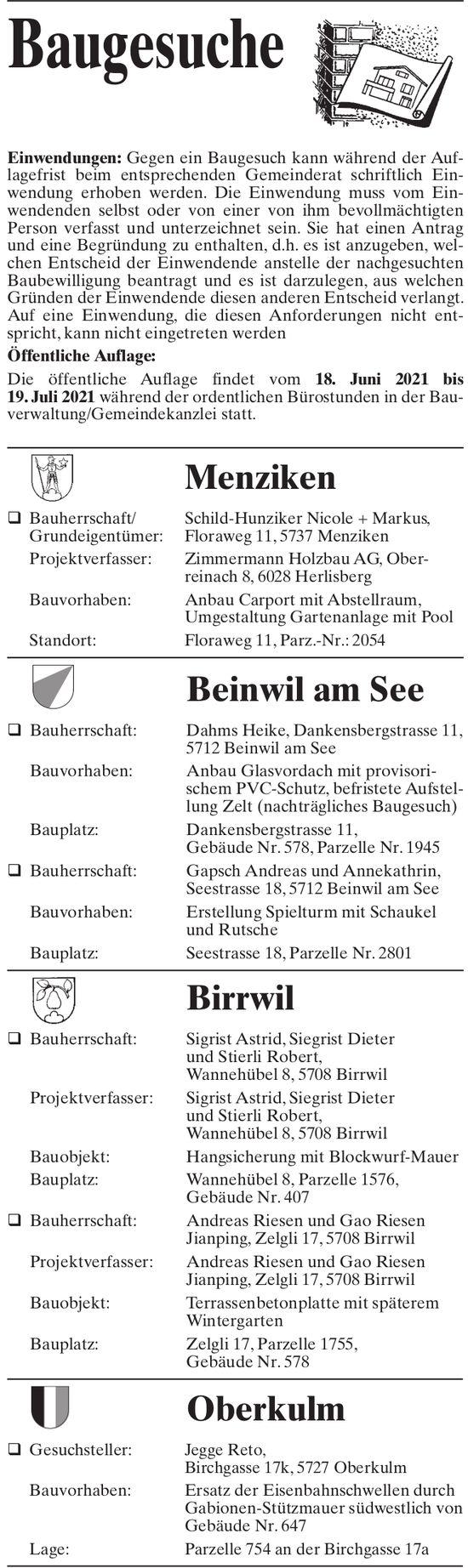 Baugesuche - Menziken, Beinwil am See, Birrwil & Oberkulm
