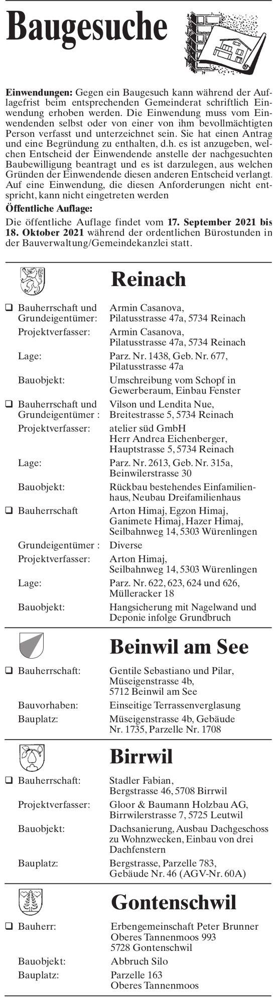 Baugesuche - Reinach, Beinwil am See, Birrwil & Gontenschwil