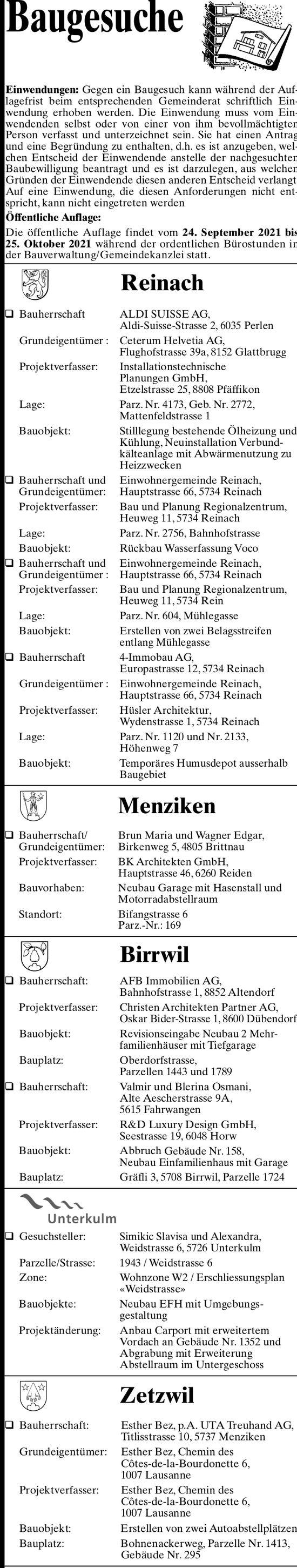 Baugesuche - Reinach, Menziken, Birrwil, Unterkulm & Zetzwil