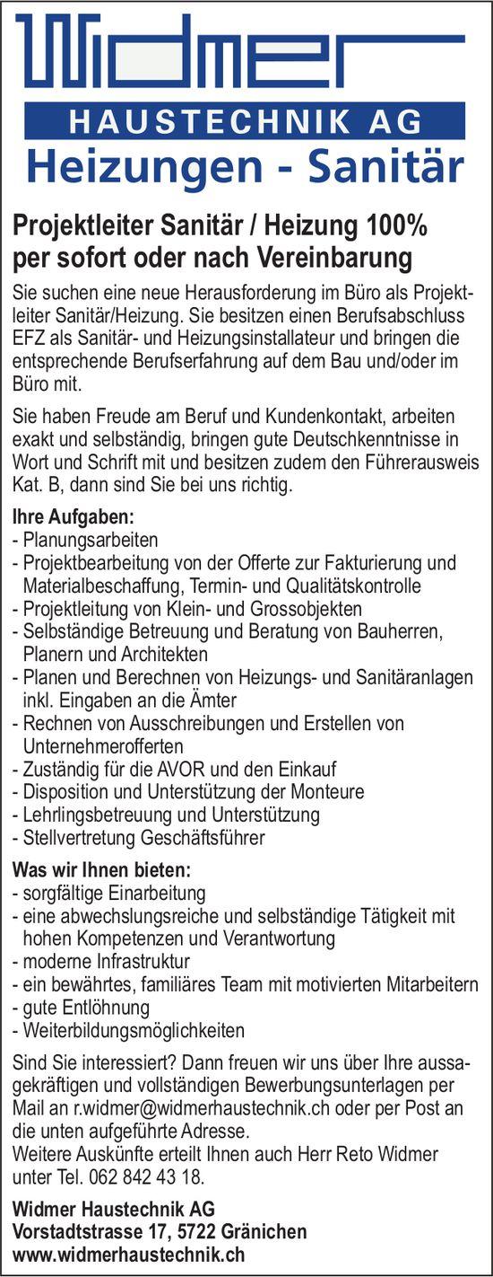 Projektleiter Sanitär / Heizung 100%, Widmer Haustechnik AG, Gränichen, gesucht