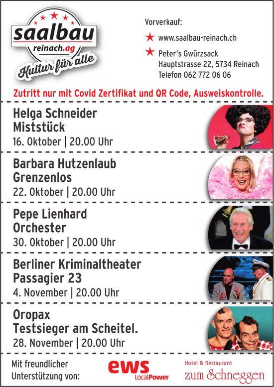 Programm, 16. Oktober - 28. November, Saalbau, Reinach
