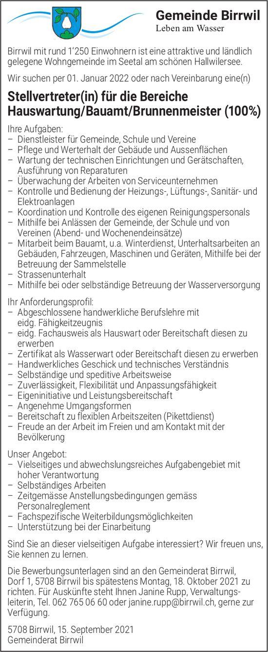 Stellvertreter(in) für die Bereiche Hauswartung/Bauamt/Brunnenmeister (100%), Gemeinde Birrwil, gesucht