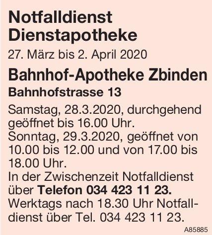 Bahnhof-Apotheke Zbinden - Notfalldienst Dienstapotheke, 27. März - 2. April