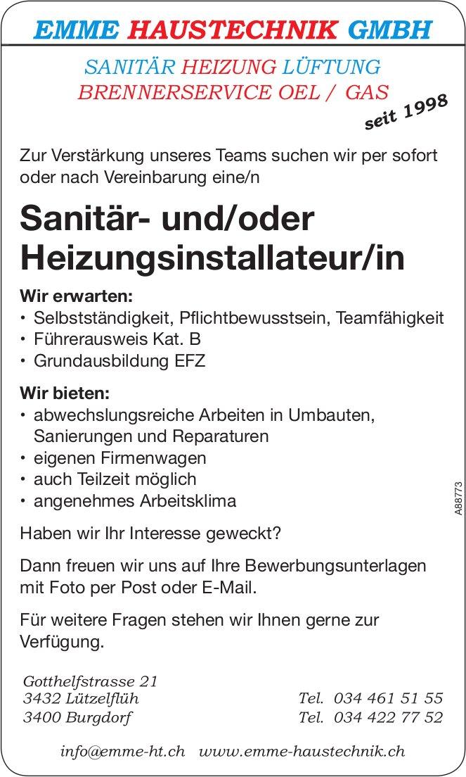 Sanitär- und/oder Heizungsinstallateur/in, Emme Haustechnik GmbH, Lützelflüh & Burgdorf,  gesucht