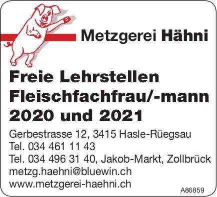 Lehrstellen Fleischfachfrau/-mann 2020/2021, Metzgerei Hähni, Hasle-Rüegsau & Zollbrück, zu vergeben