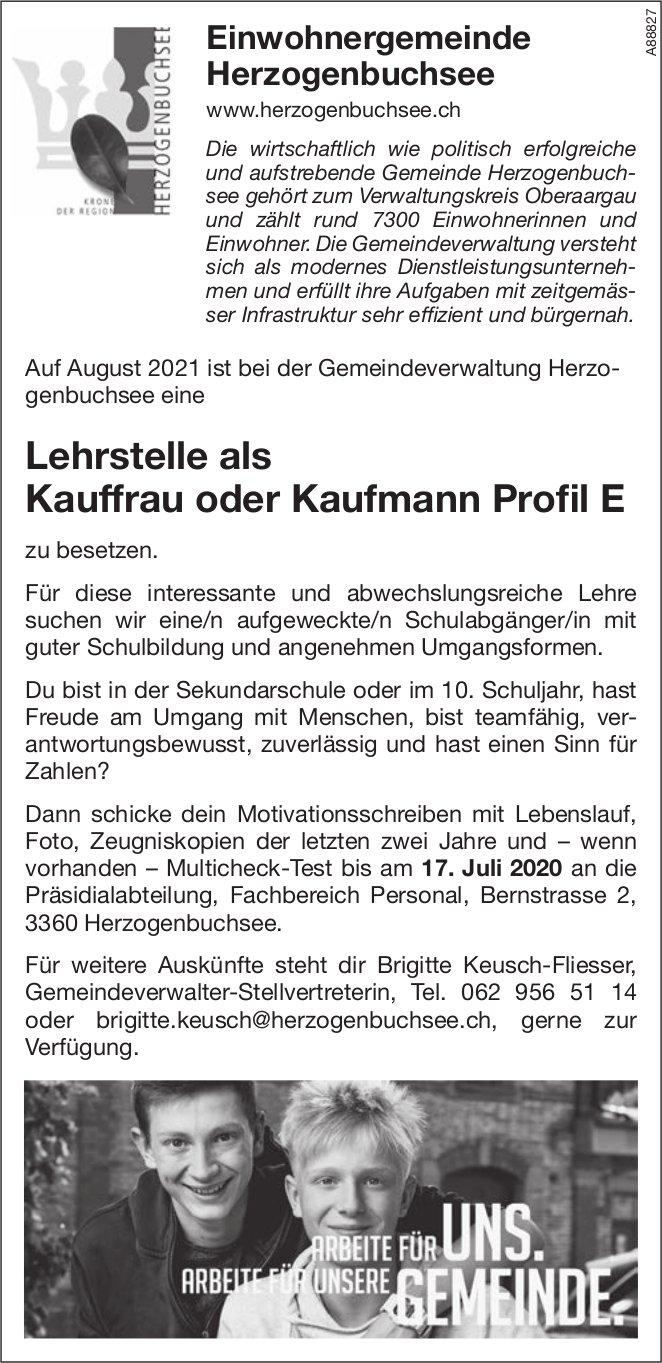 Lehrstelle als Kauffrau oder Kaufmann Profil E, Einwohnergemeinde, Herzogenbuchsee, zu vergeben
