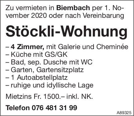 Stöckli-Wohnung, 4 Zimmer, Biembach, zu vermieten