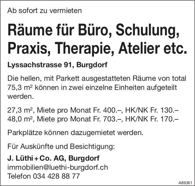 Räume für Büro,  Schulung,  Praxis,  Therapie,  Atelier etc., Burgdorf, zu vermieten