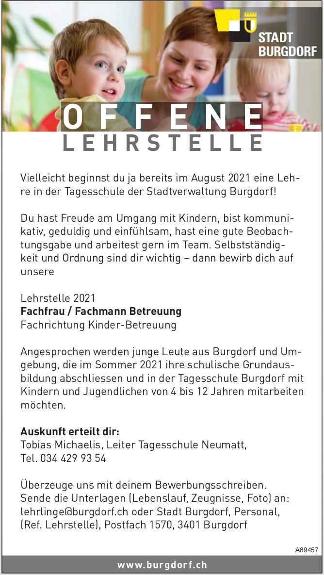 L ehrstelle 2021 Fachfrau / Fachmann Betreuung, Stadtverwaltung Burgdorf, zu vergeben