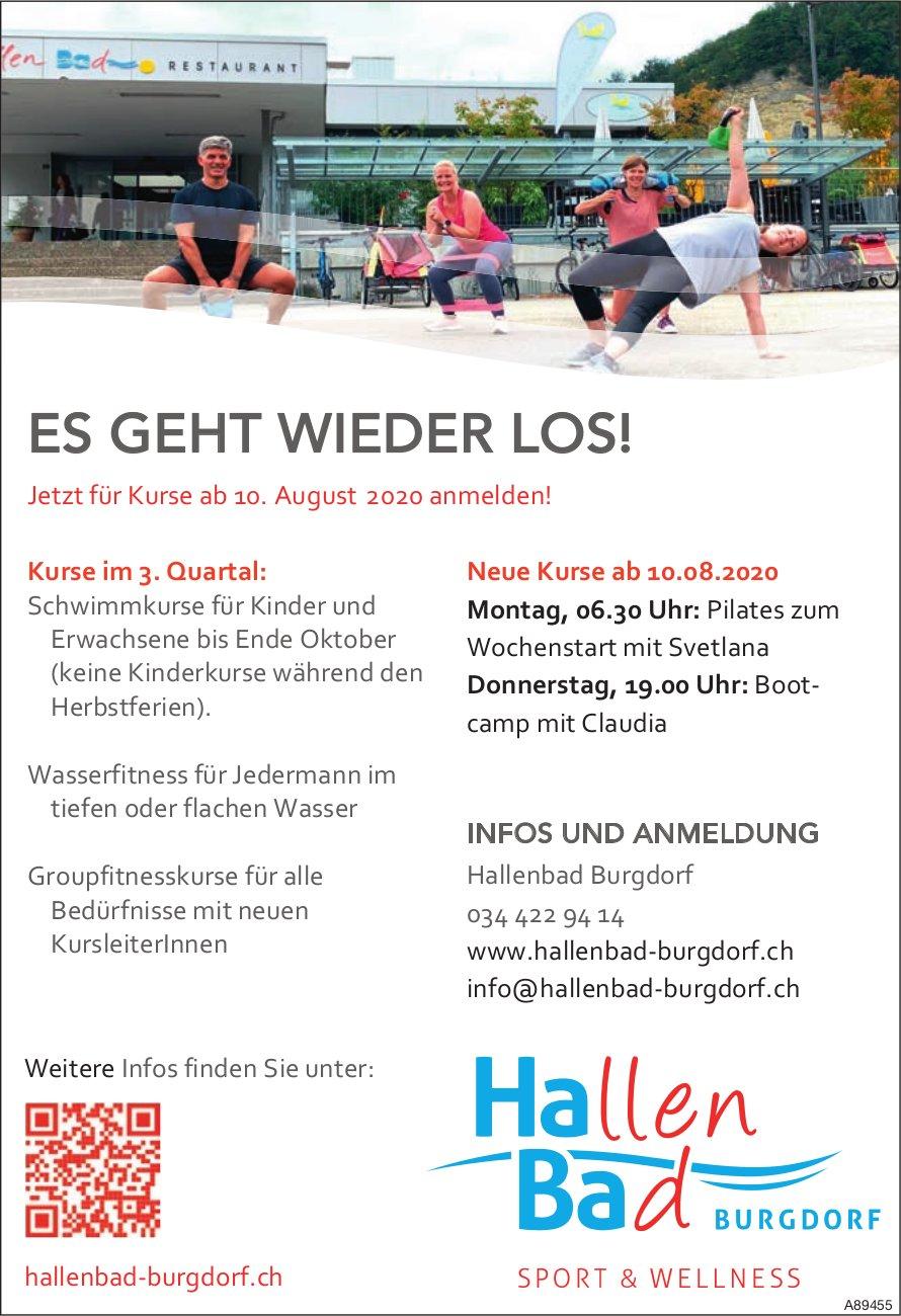 Es geht wieder los! Ab 10. August, Hallenbad Burgdorf