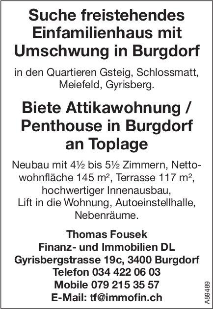 Suche freistehendes Einfamilienhaus mit Umschwung in Burgdorf